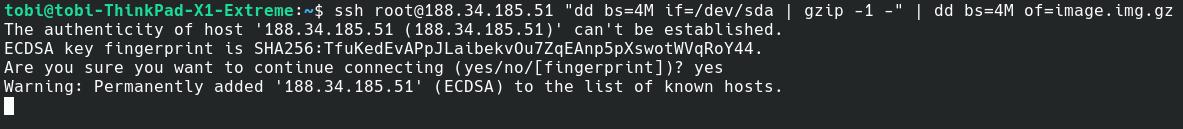 Snapshot-Erstellung mit dd über ssh.