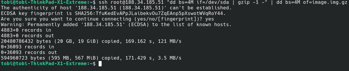Auf dem Quellsystem wurden die vollen 20 GB des Datenträgers gelesen, durch die Kompression (kombiniert mit viel freiem Speicher) wurden letztlich aber nur ~ 600 MB übertragen.
