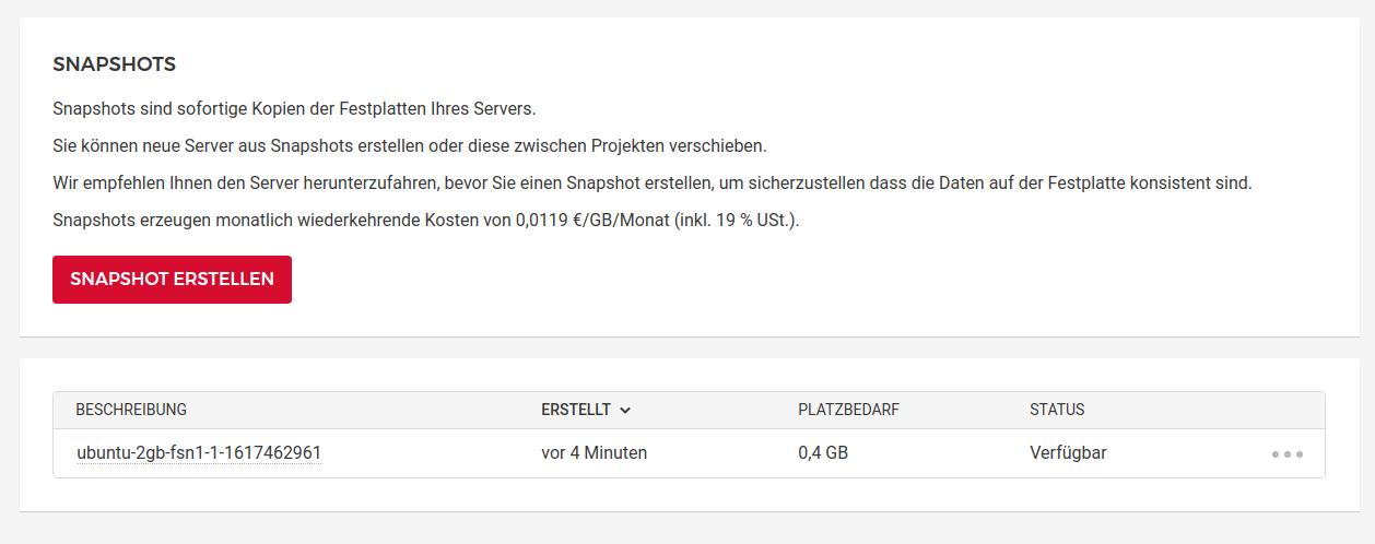 Snapshots lassen sich in der Hetzner Cloud sehr leicht anlegen, leider aber nicht exportieren.